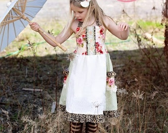 Vintage Fun & Funky -Rambling Rose Collection- Girls Custom Halter Lace Pocket Dress with 12 mos, 18m, 24m 3, 4, 5,6,7, 8,10,12,14