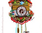Cuckoo Clock Kitsch Illustration Print