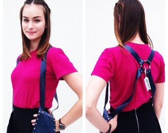 Handmade harness Navy Blue harness leather harness Holster Pocket Purse Bag Steampunk Made in USA
