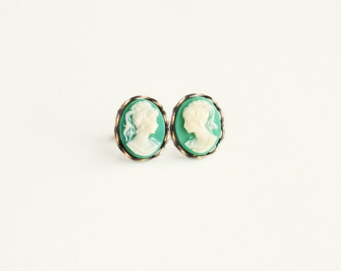 Small Green Cameo Post Earrings Vintage Victorian Portrait Studs Green Cameo Earrings Jewelry Victorian Hypoallergenic Studs Gift For Her