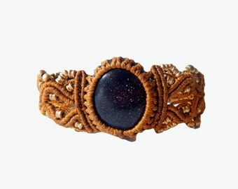 Blue Goldstone Macrame Bracelet - Your stone for AMBITION- ethereal healing crystal band