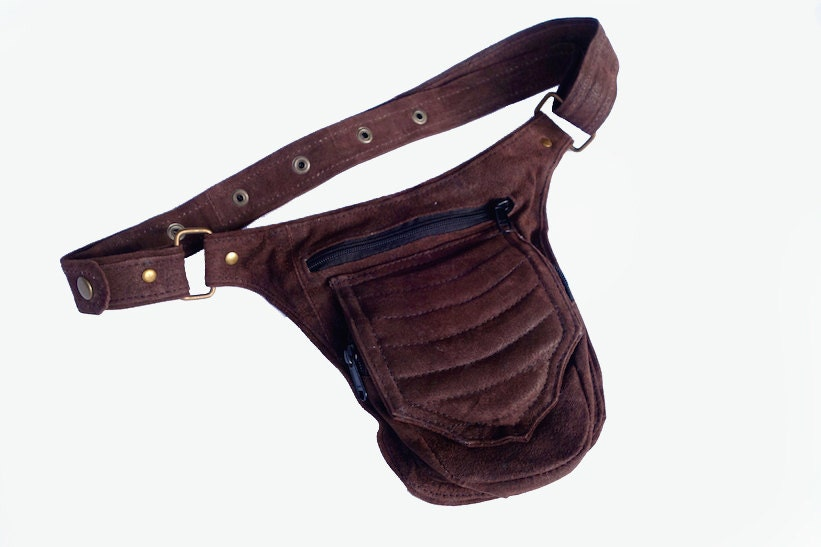 leather utility belt brown travel burning by