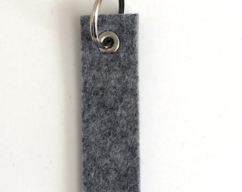 Wool Felt Key Fob : Heather Grey