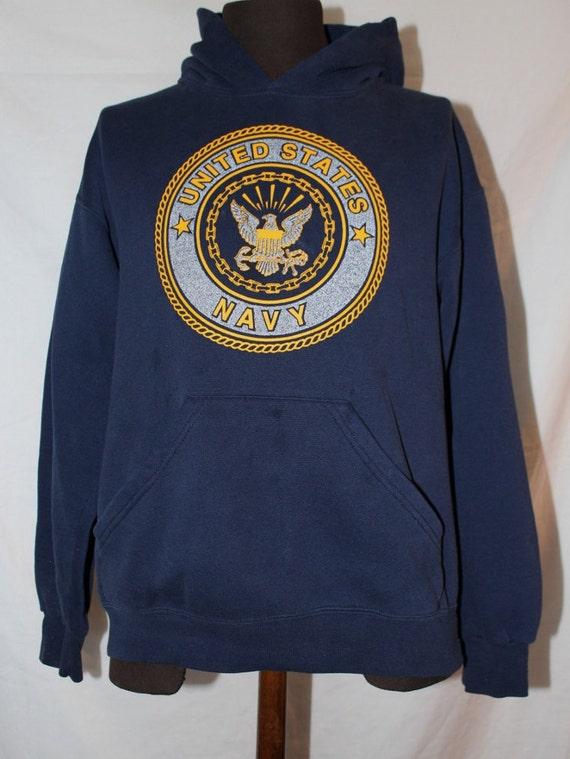 Vintage Hoodie Sweatshirt US Navy Emblem by Soffe Size