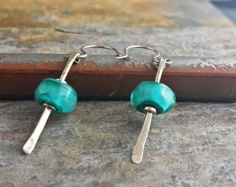 Earrings: Hammered Sterling Silver Bars with Teal Blown Glass 01902314e