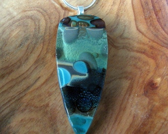 Blue and Emerald Layered Pebble Fused Glass Pendant