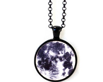 Science Moon Planet Necklace Glass Tile Jewelry Antique Silver