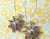 Boho Sun Earrings, Silver Bohemian Earrings, Celestial Hippie Earrings, Nature Earrings, Steampunk Earrings, Simple Small Sky Earrings,