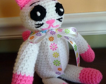 Hand Crocheted Cat, Stuffed Cat, Stuffed Animal, Pink and White, Toy