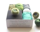 Nest Needle Felting Kit, Spring DIY Craft Tutorial, Learn How To Needle Felt, Natural Hobby, Wool, Knitting, Beginner