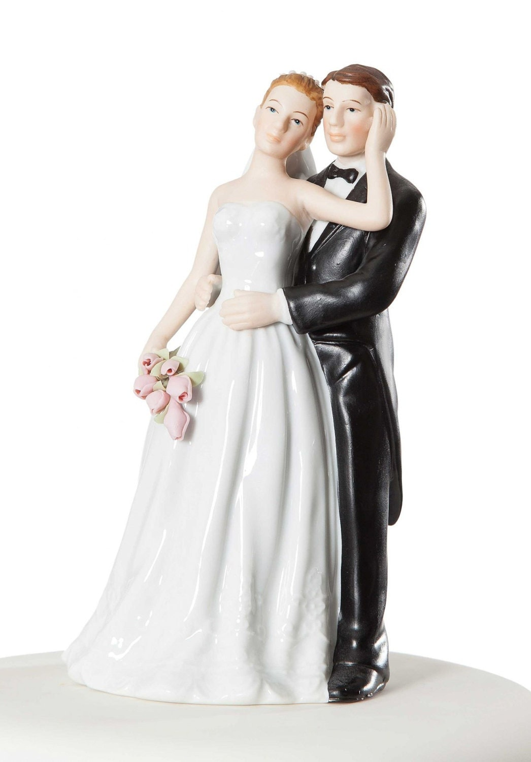 Elegant Rose Bride and Groom Cake Topper Custom Painted Hair