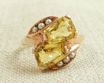 Size 6.5 Antique 14K Gold and Synthetic Yellow Sapphire Ring with Seed Pearl Accents