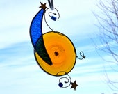 Sun, Moon and Stars Stained Glass Suncatcher
