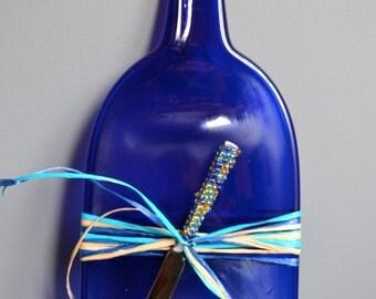 Larger Bold Blue Recycled Slumped Wine Bottle