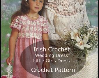 Crochet Pattern For Flower Girl Dress : Crochet wedding dress pattern Etsy