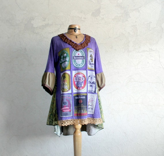 Plus Size Southwest Boho Women's Clothing Recycled T Shirt Plus Size
