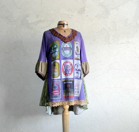 Plus Size Southwest Boho Women's Clothing Recycled T Shirt Plus Size