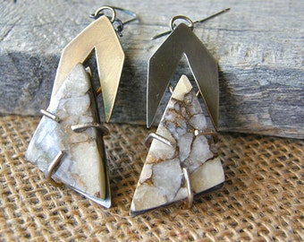 Pyrite in Calcite Chevron Pattern Earrings, Modern Geometrical Metalwork Gemstone Earrings