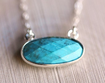 Delicate Turquoise Necklace -Sterling  silver Framed Turquoise on Delicate sterling silver Chain/ layers necklace