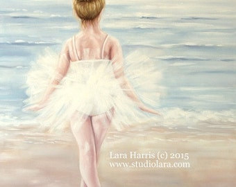 Ballerina Dreams OIL Painting by LARA - 18x24 Ocean Beach Portrait