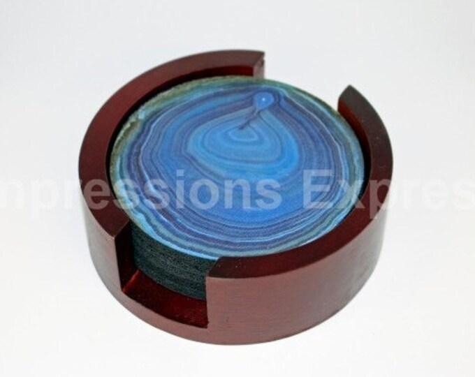 Blue Geode Stone Coaster Set of 5 with Wood Holder