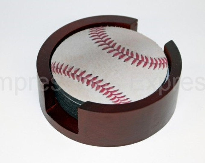 White Baseball Coaster Set of 5 with Wood Holder