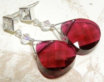 Ruby Crystal Earrings, Sterling Silver, Large Teardrop Magenta Burgundy Red Statement Drop, Bridal Party Wedding Jewelry, July Birthday Gift