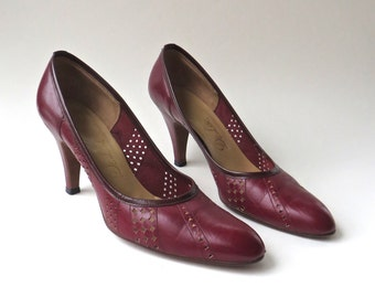 60s/70s vintage DeLiso Cranberry Red Perforated Leather Pumps