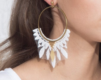 Lace earrings - DAZE - White lace with brass hoops and brass findings