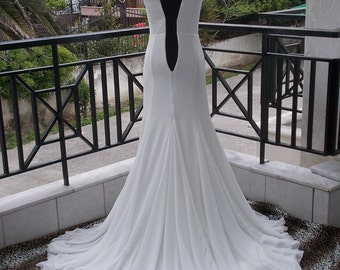 Corsetted Chiffon Flowy Wedding Dress