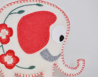 White Elephant Handmade plush - Bloom flower embroidered elephant collectible doll - white bright red - As Seen in Stuffed Magazine - OOAK