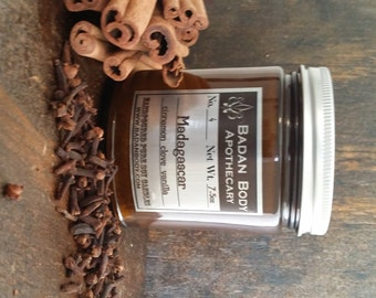 Badan No 4: Madagascar – Cinnamon Clove Vanilla Coconut and Soy Wax Candle - Hand Poured Apothecary Jar Candle, 9 oz
