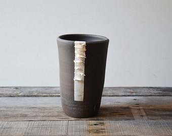 Black stoneware open vase with porcelain organic application - decorative vase - Stoneware (grès) Bowl