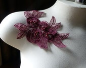 Burgundy Beaded Lace Flower Applique in CLARET Organza  for Lyrical Dance, Garments, Costumes CA 615cl