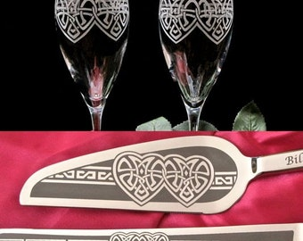 Celtic Champagne Flute, Cake Server Set, Wedding Table Settings for Irish Wedding Gift for Couple