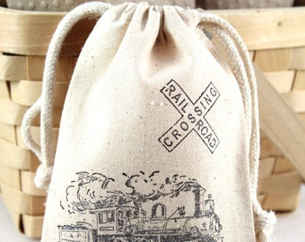 Railroad Crossing Steam Train Party Favor bags set of 10 - 4x6 muslin bags - goodie bags, thank you, boys birthday