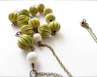 Bright Green and Yellow Beaded Retro Necklace, White Swarovski Pearl Accent, Hand Painted Metal Colorful Vintage Inspired Brass 1960 Sixties