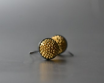 Ear Dangles Gold plated glass beads silver  blackened