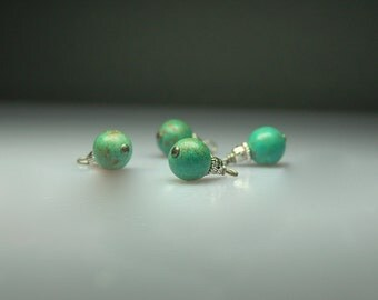 Vintage Style Bead Dangles Turquoise Stone Beads Set of Four G959