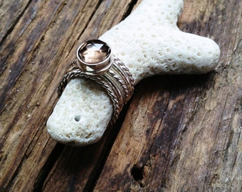 Stacked Ring Set with Rose Cut Smokey Quartz in Sterling Silver