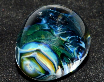 Twisted Honeycomb Cobalt Blue Glass Quail Egg - Handblown Glass