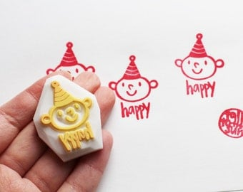 happy boy stamp. clown hand carved rubber stamp. birthday boy gift wrapping. christmas scrapbooking. holiday crafts. stamps by talktothesun
