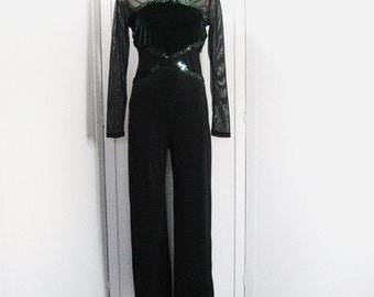 Vintage Black Leotard Jumpsuit, Spandex Catsuit, Bodysuit, Bootcut Leg, Sequin Dance Costume, Green Velvet, Long Mesh Sleeves, 36 Bust Bodic
