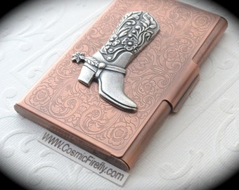 Silver Cowboy Boot Copper Business Card Case Steampunk Card Case Card Holder Victorian Wild West Style Card Case New Handcrafted Card Case