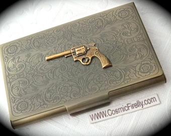 Wild West Gun Card Holder Antiqued Brass Business Card Case Victorian Steampunk Card Holder Cowboy Gun Card Case Filigree Scrollwork Design