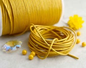 Metallic Yellow: 2mm Round Leather Cord, Genuine Leather,  Metallic Leather, Indian Leather, Supple Leather, Cording / Choose your length