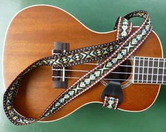 Ukulele Strap, Adjustable neck style sling strap, Rich Brown, White on Black woven trim, narrow width, hook attachment