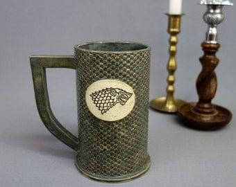 House Stark Ceramic Stein in Gray