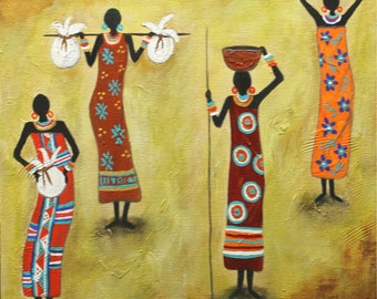 "Handmade,Original Art folk art painting, Latin American Art "" Enterprising Woman"" Painting  Abrstract Acrylic   African - By Maite Tobon"