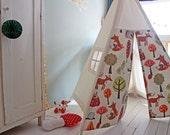 SALE!!! Teepee tent | Woodland Print | MIDI size | Indoor play teepee | Tipi | Canvas Teepee | Woodland Theme